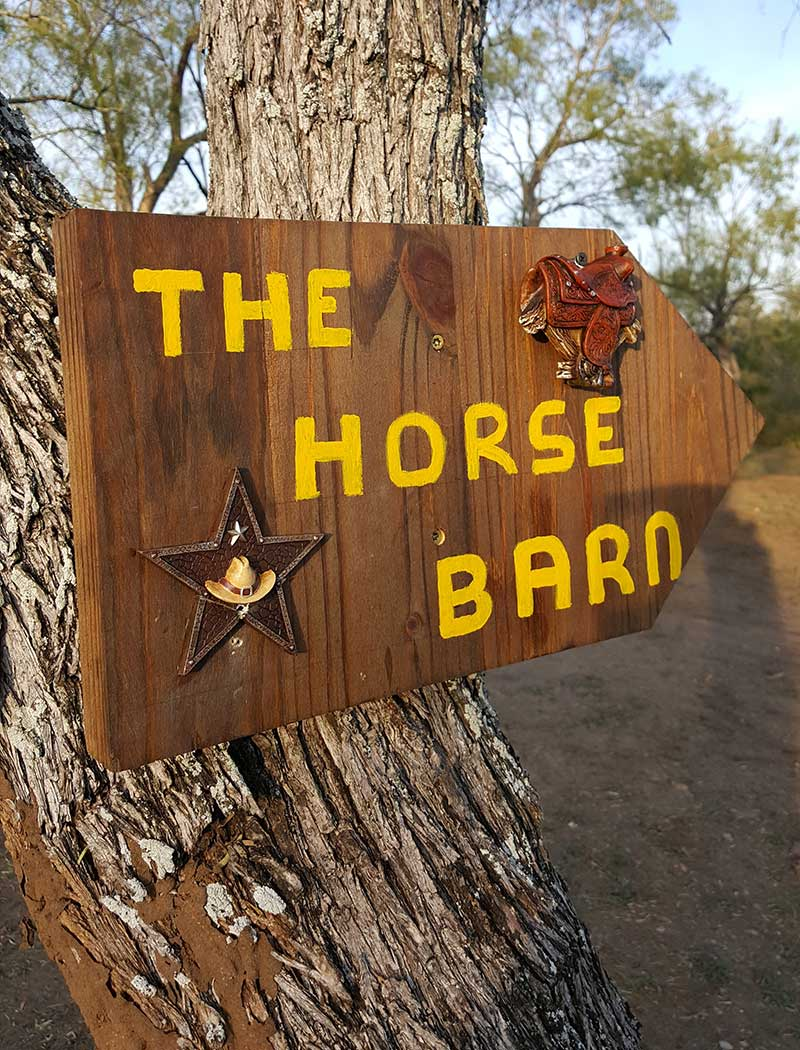 The Horse Barn Cabin sign Picaranch Texas
